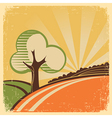 Vintage nature landscape with tree and sun vector