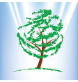 Green tree over blue sky vector