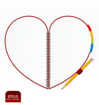 Heart note paper with pencil vector