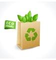 Ecology symbol paper bag vector
