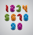 Geometric modern style numbers made with rhombuses vector
