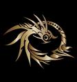 Golden dragon ring on white background vector