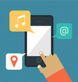 Hand hold smart phone - music mail location icons vector