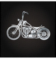 Vintage silver motorcycle on metal background vector