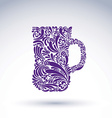 Creative beer mug decorated with floral pattern vector