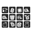 Silhouette abstract square fruit icons vector