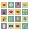 Slot machine and gambling flat icon set with vector