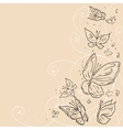 Hand draw grunge butterfly abstract background vector