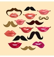 Lips and mustaches vector