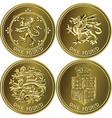Set british money gold coin vector