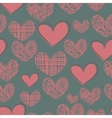 Cartoon seamless pattern with hearts on a blue vector