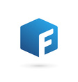 Letter f cube logo icon vector
