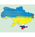 Ukraine map russia in crimea vector