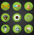Police sequrity flat icon set include road cone vector