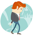 Sad office man in front of his working place vector