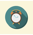 Flat circle web icon alarm clock vector