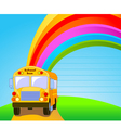 Back to school yellow school bus background vector