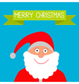 Santa claus and green ribbon merry christmas card vector