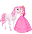 Beautiful princess and her cute horse vector