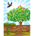 A tree with a flock of birds vector