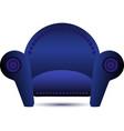Classic blue armchair icon vector