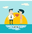 Love male and female cartoon characters valentines vector
