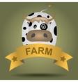 Cartoon logo with a cow vector