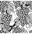 Seamless grapes background black and white vector