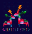 Christmas card with colorful deers vector