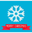 Big snowflake and red ribbon merry christmas card vector
