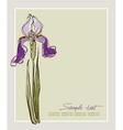 Card design with decorative iris flower vector
