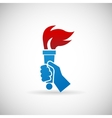 Victory flame symbol hand hold fire torch icon vector
