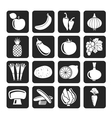 Silhouette different kind of fruit and vegetables vector
