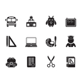 Silhouette school and education objects vector