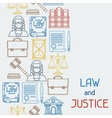 Law and justice icons seamless pattern in flat vector