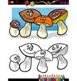 Cartoon mushrooms for coloring book vector