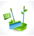 Ecology symbol dustpan and brush vector