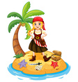 Pirate and island vector