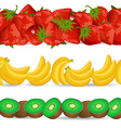 Collection seamless borders with fruits on white vector