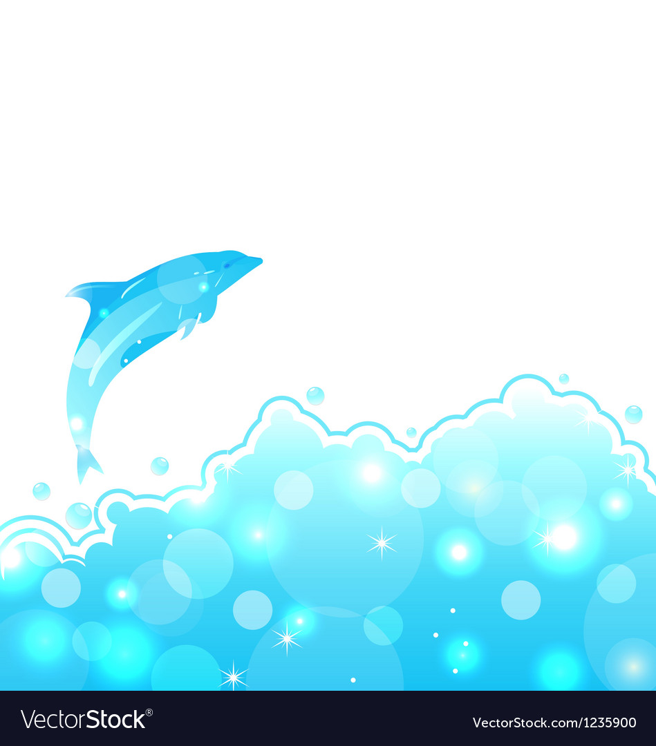 Abstract water card with dolphin vector | Price: 1 Credit (USD $1)