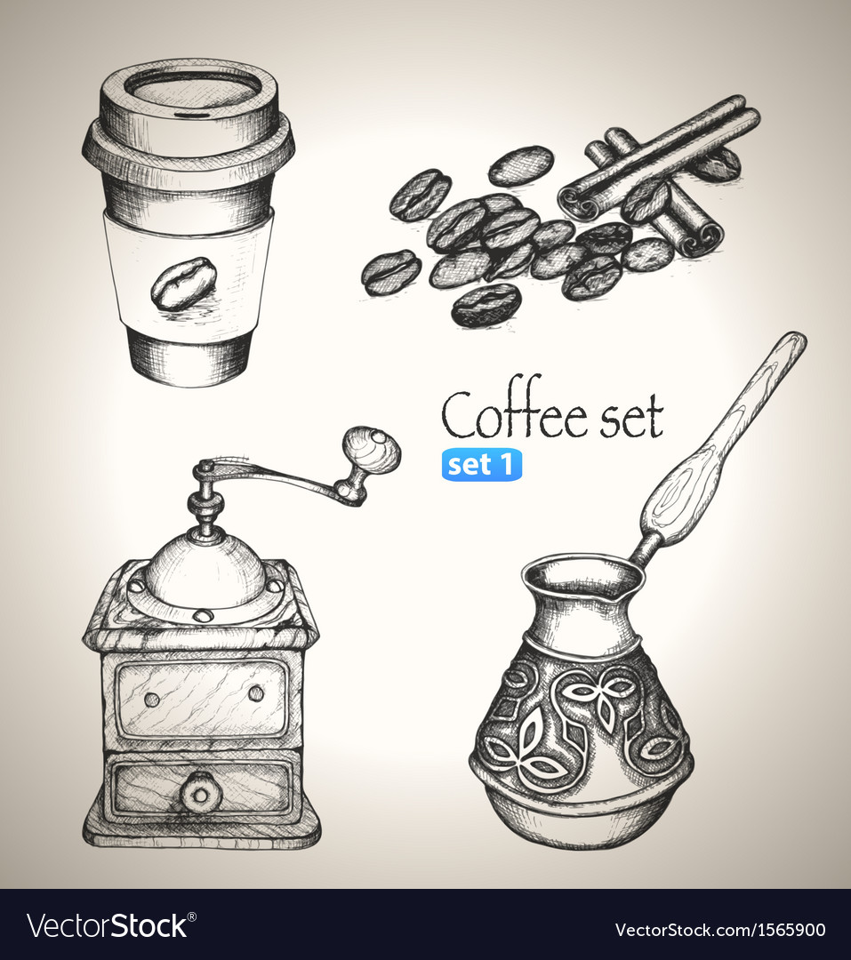 Coffee set beans mill maker and cup vector | Price: 1 Credit (USD $1)