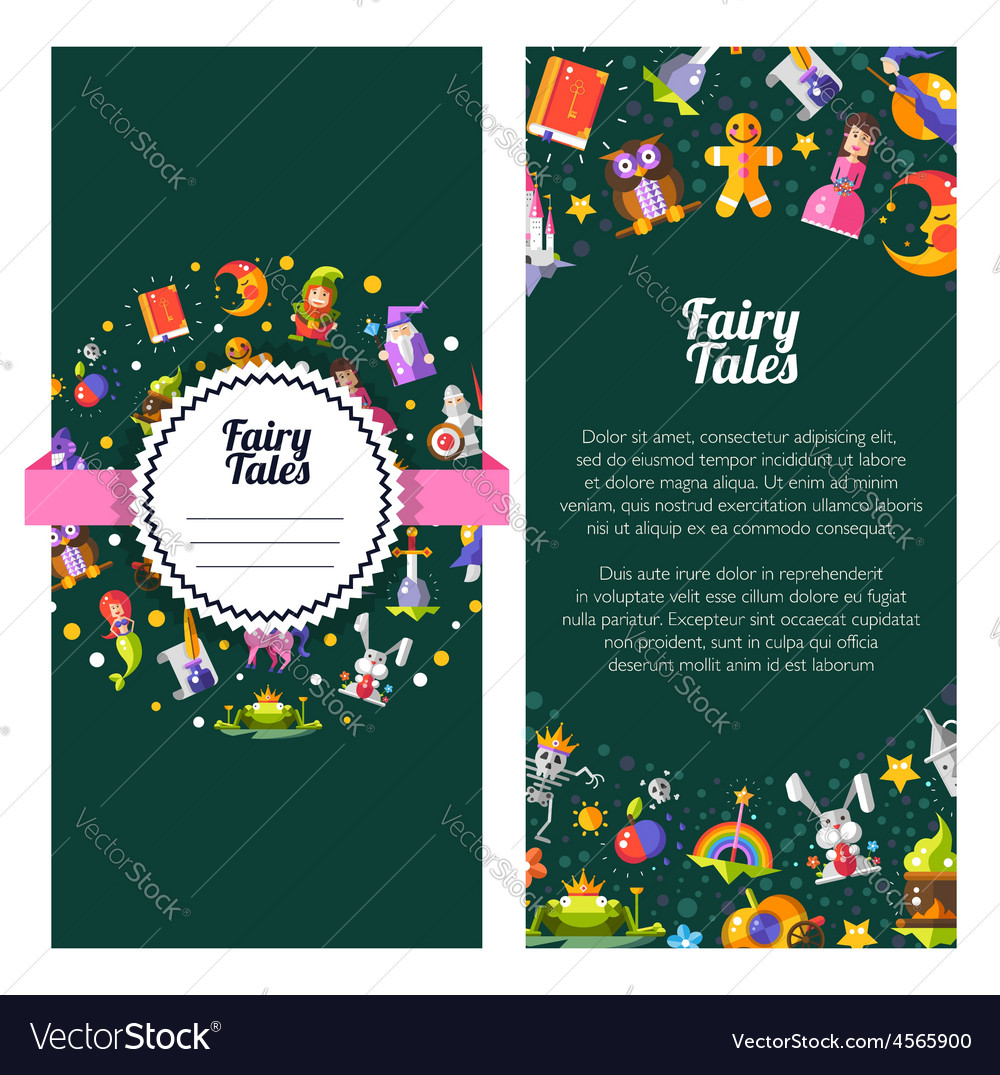 Flyer template of modern fairy tales flat design vector   Price: 1 Credit (USD $1)