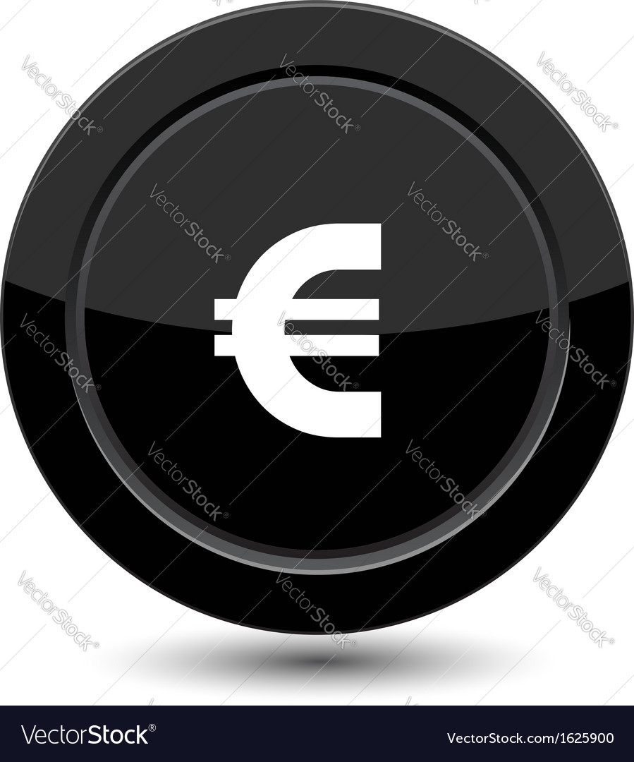 Glossy black euro button vector | Price: 1 Credit (USD $1)