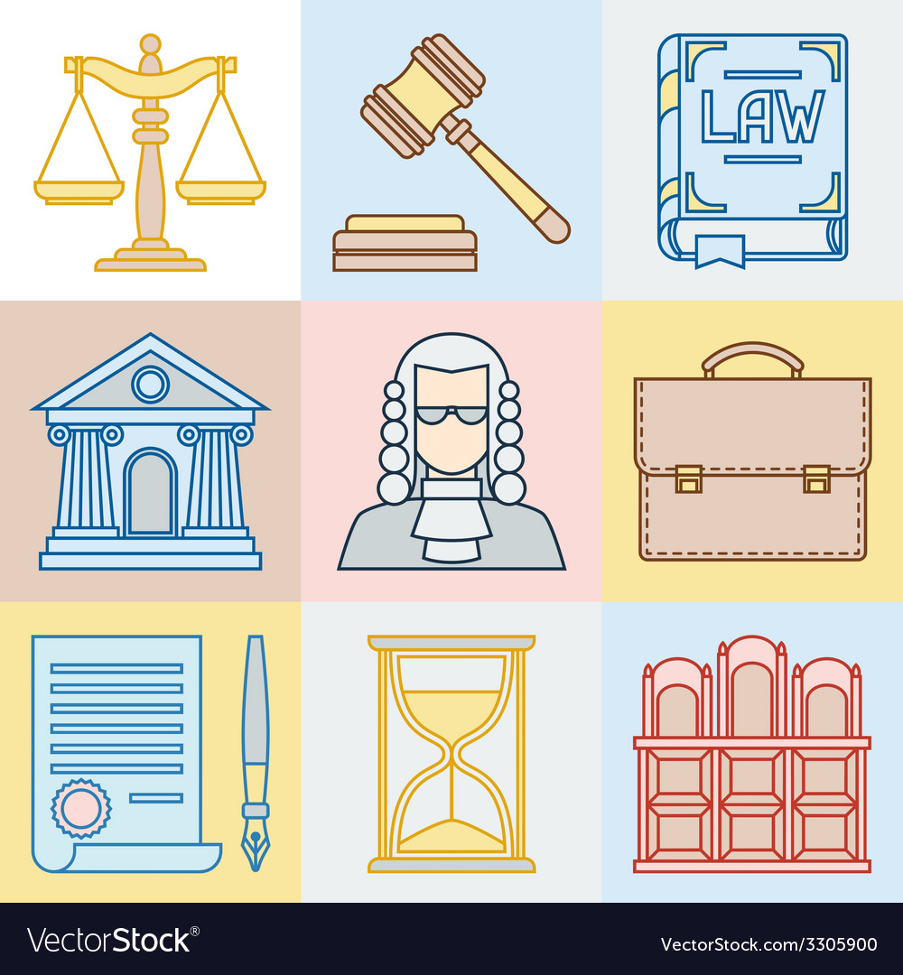 Law contour icons set in flat design style vector | Price: 1 Credit (USD $1)