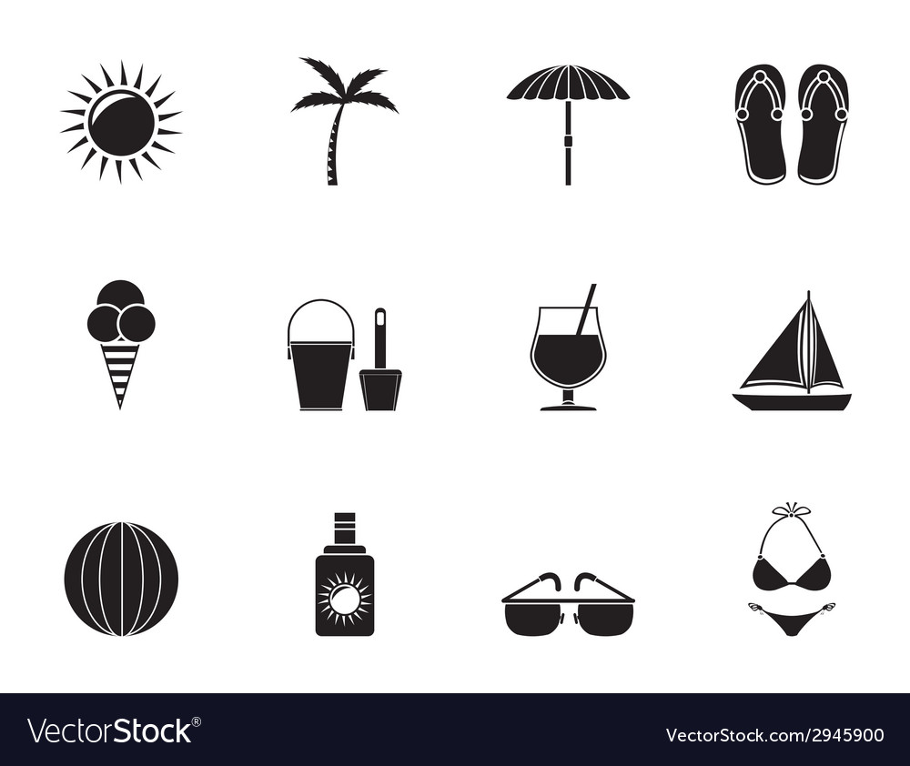 Silhouette holiday and beach objects vector | Price: 1 Credit (USD $1)