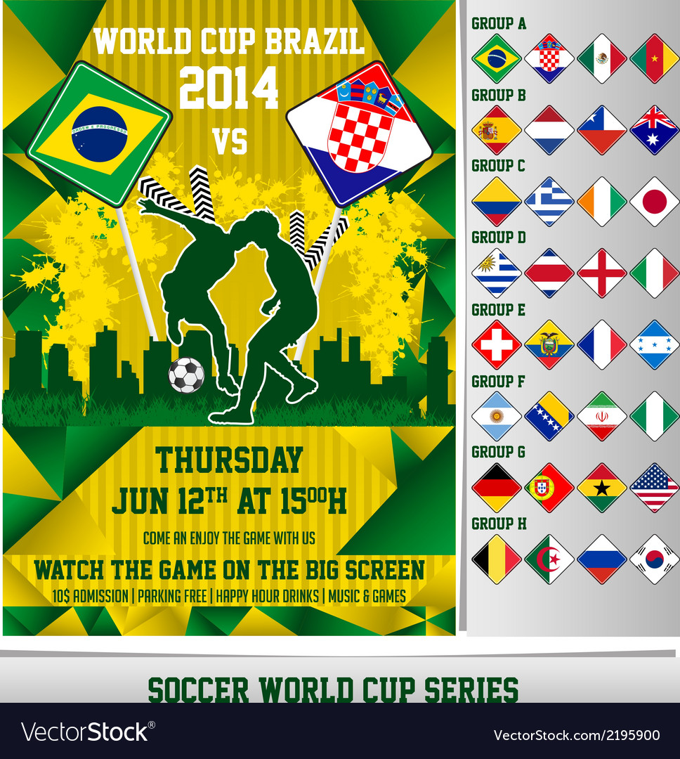 World cup 2014 flyer vector