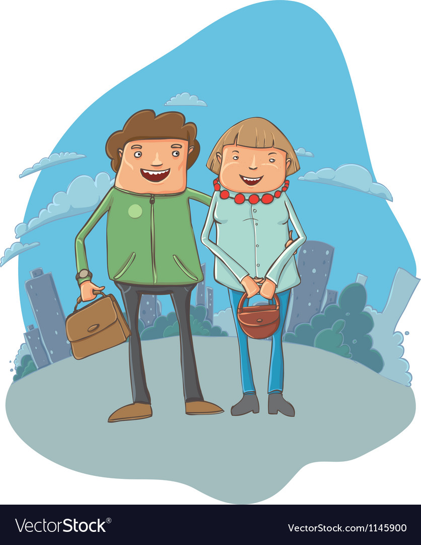 Young couple on the street vector | Price: 1 Credit (USD $1)