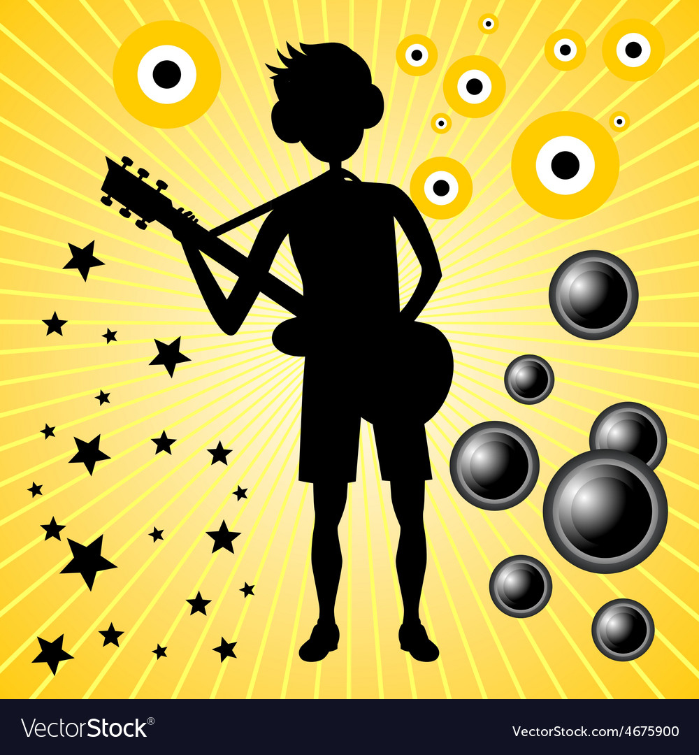 Young guy with bass guitar vector | Price: 1 Credit (USD $1)