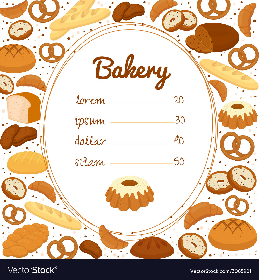 Bakery menu or price poster vector | Price: 1 Credit (USD $1)