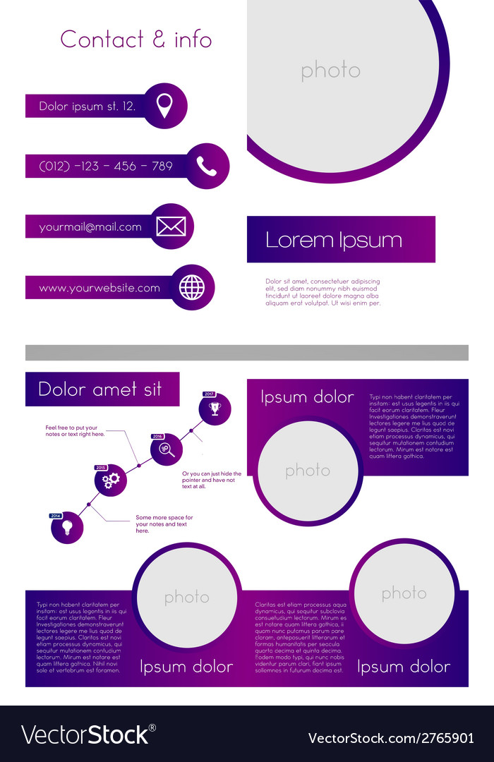 Business brochure template - purple and white vector | Price: 1 Credit (USD $1)